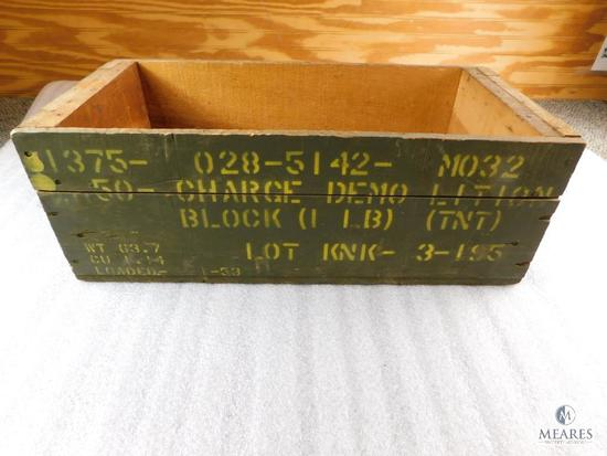 Vintage 50 - Charge Demolition TNT Block Wood Military Case