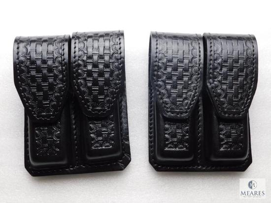 2 New leather double mag pouches for staggered mags like Beretta 92,96 and similar