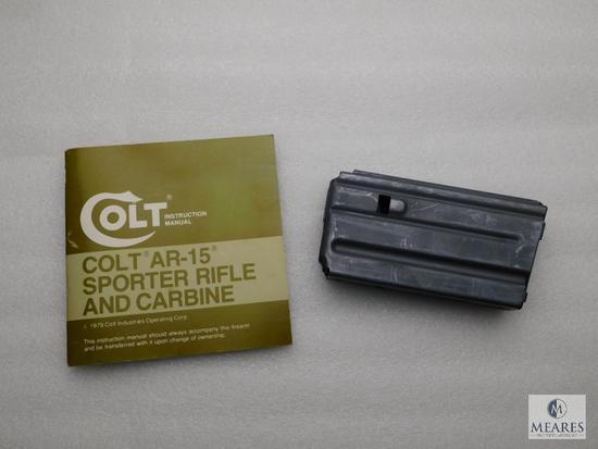 Vintage Factory Colt 30 Round AR15 magazine + Manual