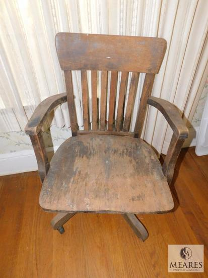 Antique Wooden Industrial Swivel Office Chair