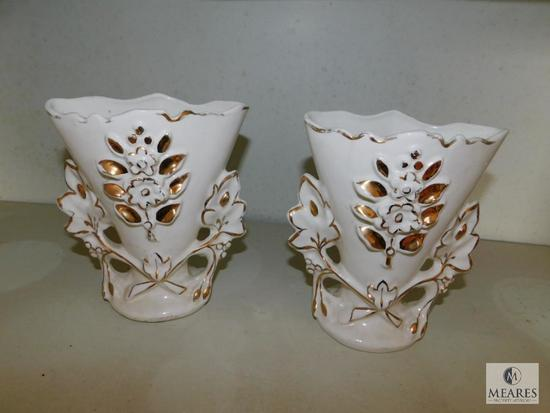Lot of 2 Vintage Vases USA Stamped Possibly early McCoy