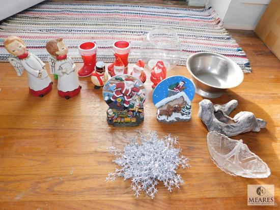 Lot Vintage Christmas Decorations, Glass & Tin Bowl