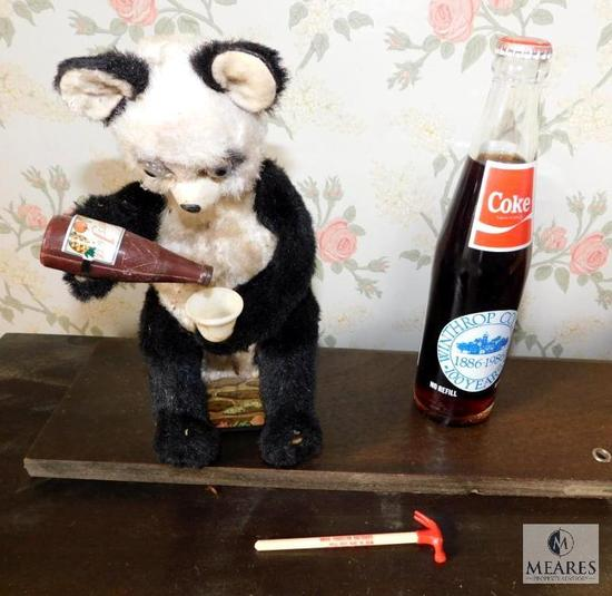 "Vintage ""Drinking Panda Bear"" Toy & Winthrop College Coca-Cola Bottle"