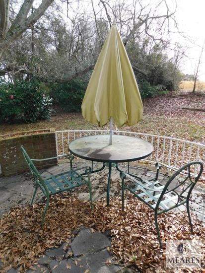 Aluminum Patio Set Glass Top Table 2 Chairs & Umbrella