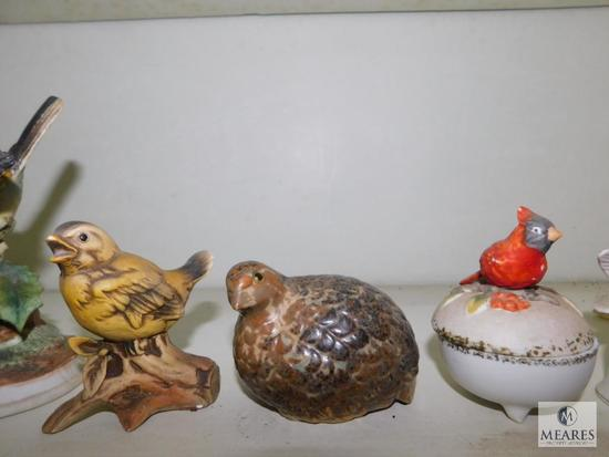 Shelf Lot Porcelain Bird Figurines & Trinket Holders