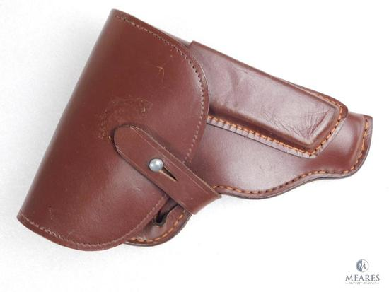 Leather military flap holster fits Makarov, Walther PPK and similar