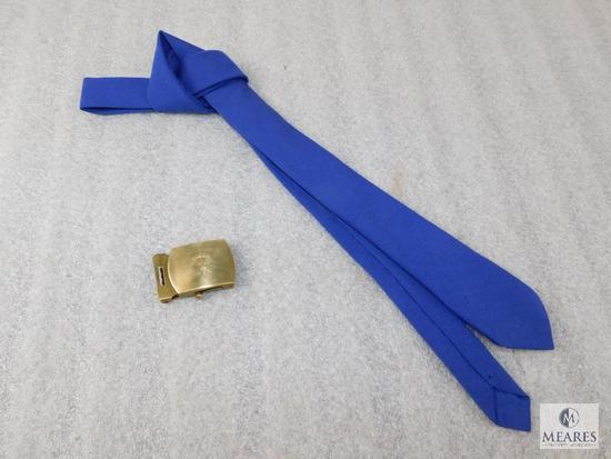 Lot 1930's BSA Logo Brass Belt Buckle & 1950's Air Scout Necktie