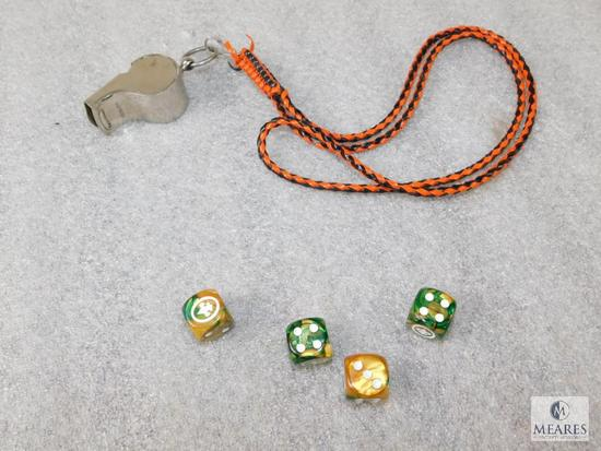 Lot Official Boy Scouts Vintage First Class Whistle & Set of 4 BSA Game Dice