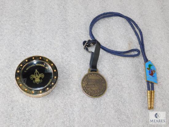 Lot BSA Watch Reward Fob, National Deputy Chief Scout Paperweight, & Southeast Region Bolo Tie