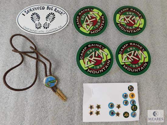 Lot Camp Rainey Mountain Bolo Tie, 5 Camp Stickers, & Set of Service Stars 1,2,4,8,9,10,60,70