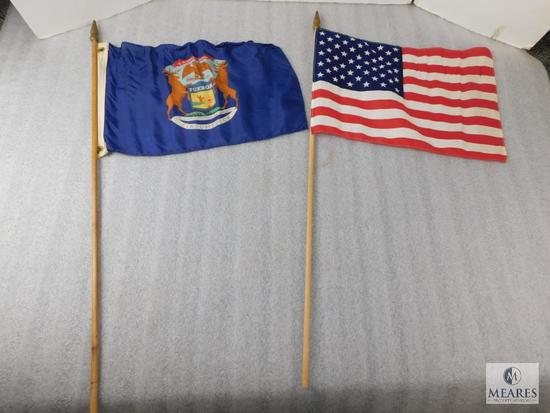 Lot Old Boy Scouts of America United States Flag & Tuebor Camp Flag