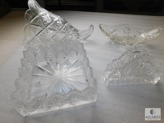 Lot Clear Glass Crystal Cut Cornucopia Dish, Napkin Holder, Square Dish & Tray