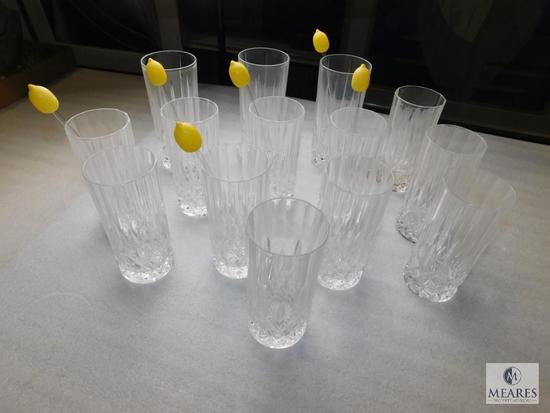 Lot of 13 Clear Crystal Cut Glasses Tumblers Glass Stirrers w/ Lemon on top