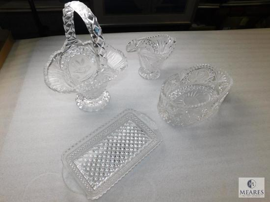 Lot 4 Crystal Cut Clear Glass Dishes; Basket, Tray, Creamer, and Bowl