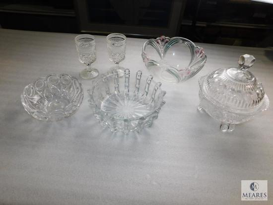 Lot Glass or Cut Crystal Dishes; 3 Bowls, 2 Stemmed Goblets, and Lidded Footed Candy Dish