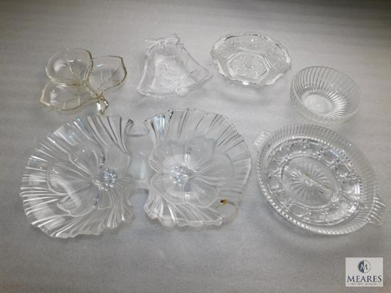Lot 6 Clear Glass or Cut Crystal Trays some Divided Relish Dishes