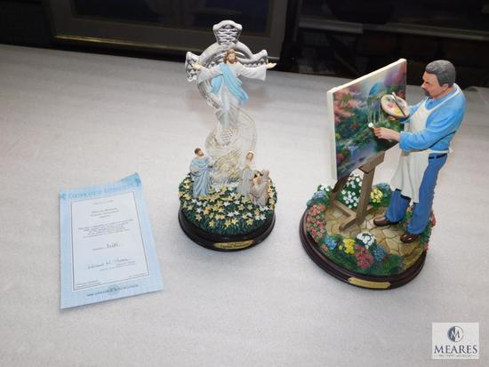 Lot of 2 Thomas Kinkade Collectible Figurines; Crystal Ascension & The Painter of Light Statue