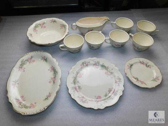 11 Piece Lot Homer Laughlin Virginia Rose China Pieces; Gravy Boat, Trays, Bowl, & Teacups