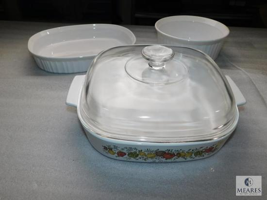 Lot of 3 Corning Ware Dishes Casserole Bowls 1 with Glass Lid