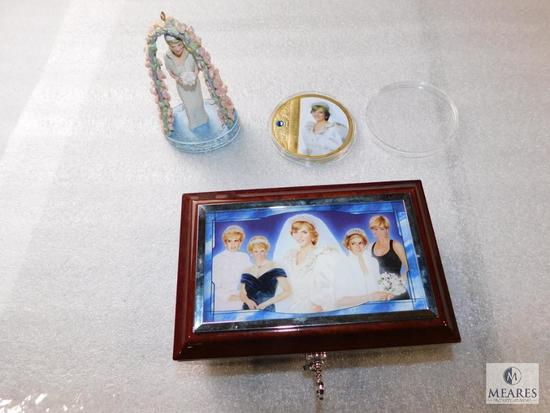 Lot Commemorative Items Diana Princess of Wales Music Box w/ Key, Collector Coin & Figurine