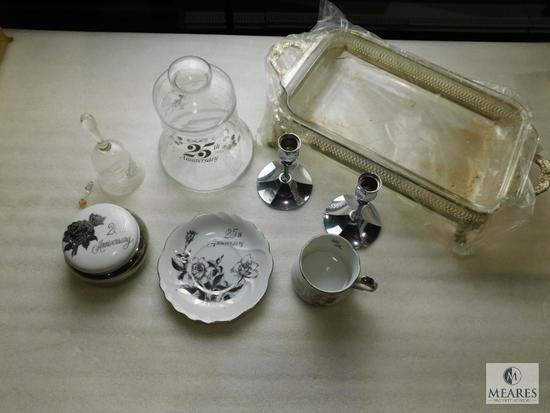 Lot of 25th Anniversary Porcelain Pieces, Glass Bell, & Silver Plated Chafing Dish