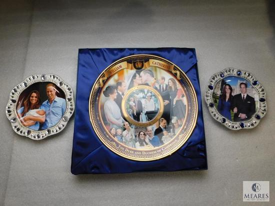 Lot 3 Collector Plates Bradford Exchange William & Catherine Wedding Anniversary, Prince & Princess