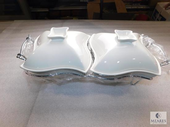 New Chafing Dish Set 2 White Ceramic Dishes w/ Silver Tone Tray
