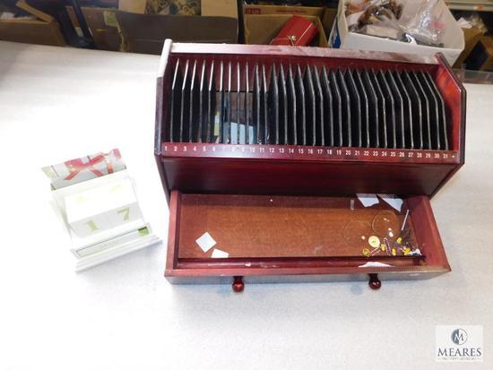Lot Stationary Calendar Set & Mail Sorter Wooden Box Organizer