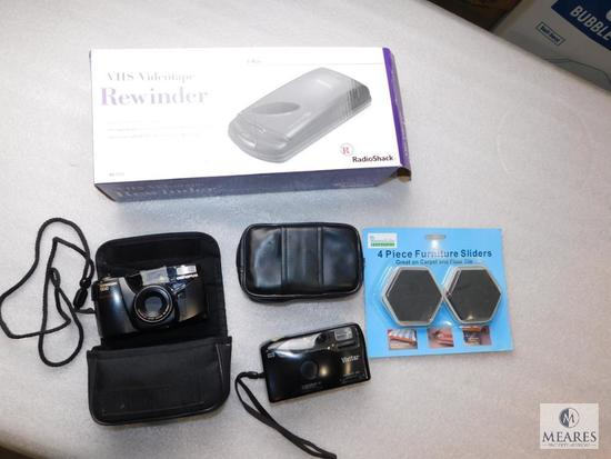 Lot Olympus & Vivitar 35mm Cameras, Furniture Sliders, & VHS Videotape Rewinder
