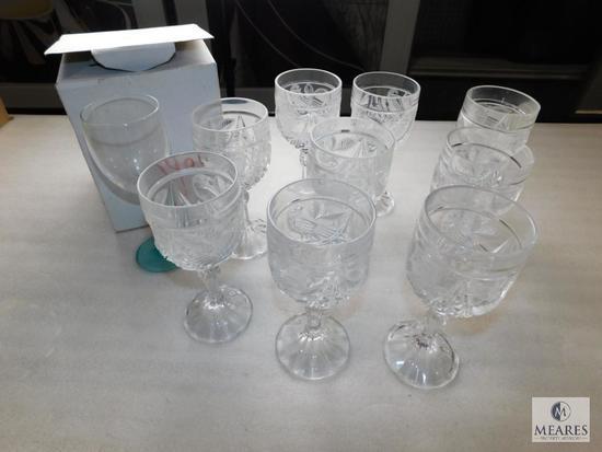 Lot of Crystal and Glass Goblets Stemmed Wine Glasses