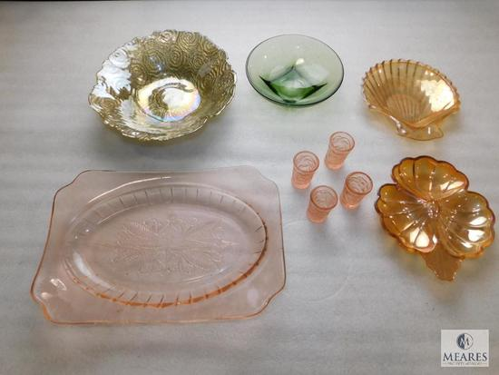 Lot of Pink Depression Glass Pieces, Orange Carnival Glass Trays, Green Glass Bowl, & Gold Tone Bowl