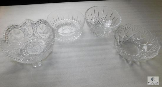 Lot of 4 Clear Crystal Cut Bowls 1 Footed