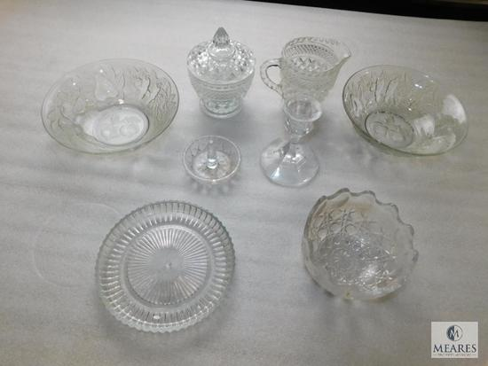 Lot of Clear Glass or Crystal Bowls, Creamer & Sugar Dish, Candle Stick, & Ring Holder