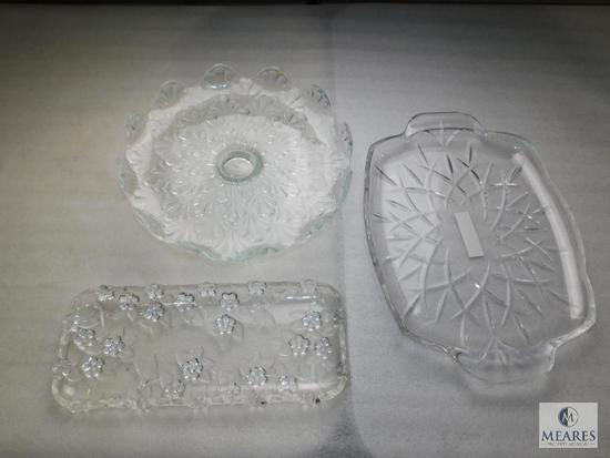 Lot Clear Glass or Crystal Rectangle Trays and Stemmed Cake Holder Dish