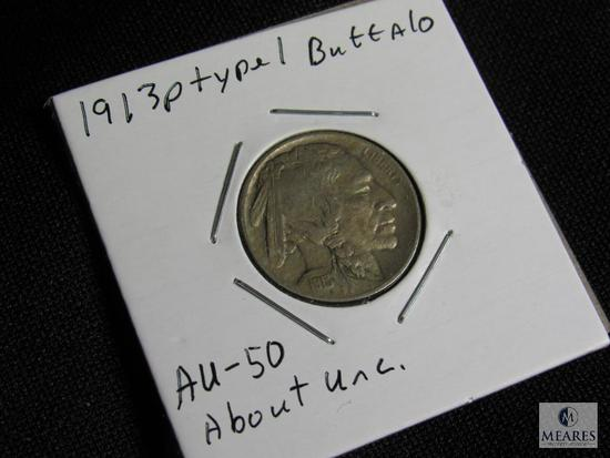 1913 P Type 1 Buffalo Nickel AU-50 About Uncirculated