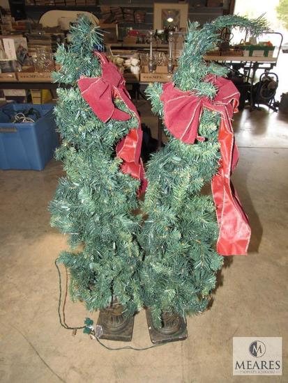 Pair Christmas Small Topiary Trees with Clear Lights 4' Each