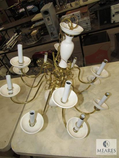 12 Light White Porcelain & Brass Chandelier Light Fixture