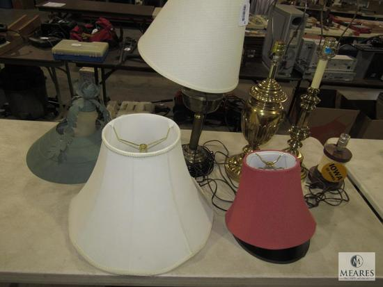 Lot of 4 Table Lamps and Rustic Green Shade Light Chandelier