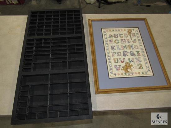 """19"""" x 23"""" Cross Stitch Picture & Large Sectioned Spice or Collection Wall Shelf 32.5 x 16.5"""""""