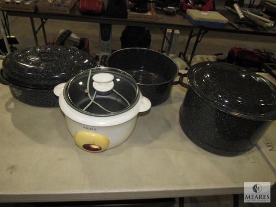 Lot Tin Large Steamer Pot & Roasting Pan & Krups Crock Pot