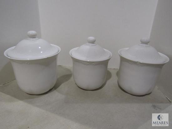 Pfaltzgraff Set of 3 white Canisters for Coffee Sugar Tea Flour etc.