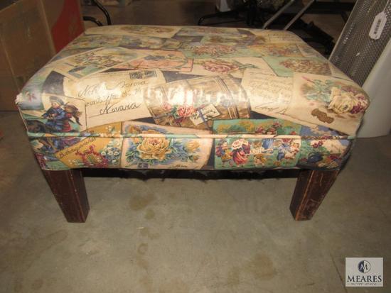Upholstered Footstool Ottoman w/ Wood Legs