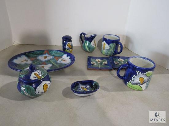 9 pc Pottery Hand Painted Dishes Plate, Cups, Shaker, Creamer, Sugar Bowl, Coasters +