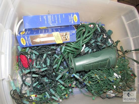 Lot Tote of Christmas Lights Clear & Multi and Candle Lamps