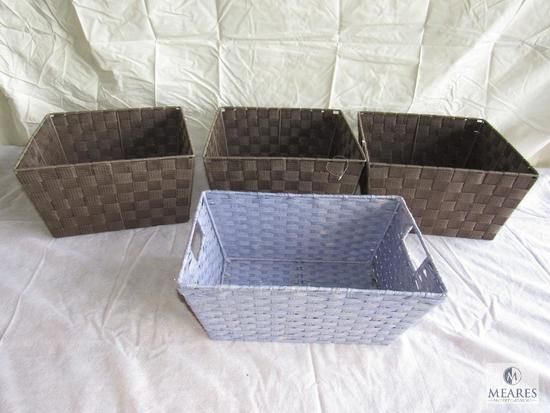 Lot of 4 Woven Storage Baskets