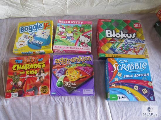 Lot of 6 Board Games, Scrabble,, Blokus, Boggle Jr etc