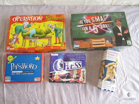 Lot of 5 Board Games, Chess, Password, Are your smarter than a 5th Grader