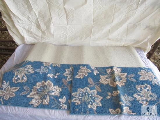 "Lot of 3 Rugs ( White measures approximately 70""x 24"") (two blue measures approximately 34""x 20"")"