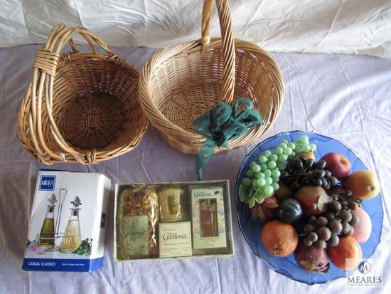 Lot of two baskets, Oil and vinegar bottle rack, Home fragrant, Bowl of decorative fruits