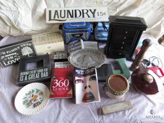 Lot of Assorted items, Jewelry box, lunch bags, WWII VHS series, Books etc.